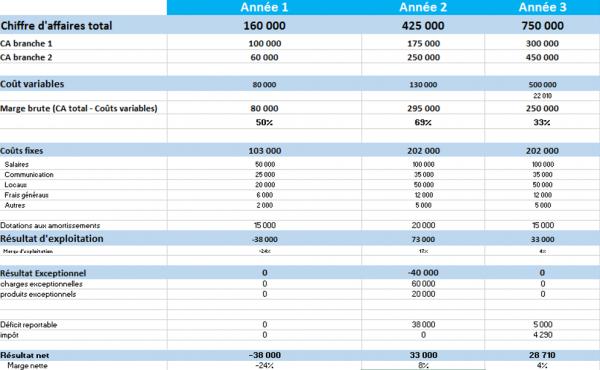 prévisionnel financier : compte de résultats fictif
